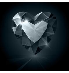 Black shiny diamond heart shape on black vector image