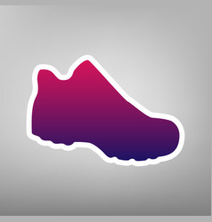 Boot sign purple gradient icon on white vector