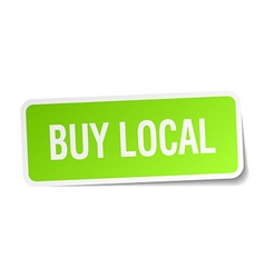 Buy local green square sticker on white background vector