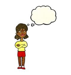 Cartoon smug woman with thought bubble vector