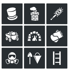 Chimney and heating coal icons set vector