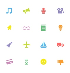 Colorful simple flat icon set 5 vector