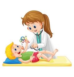 Doctor examining toddler boy vector image vector image