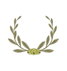Drawing three olive leaf label vector