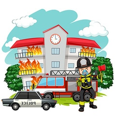 Fire fighter at the fire station vector image