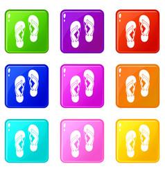 Flip flop sandals icons 9 set vector
