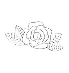 Flower and leaves icon vector