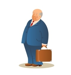 Funny old man with a suitcase business elderly vector