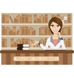 Girl librarian vector image vector image
