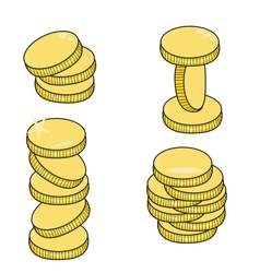 gold coins isolated on white background vector image