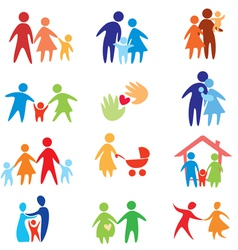 happy family icons vector image vector image