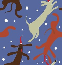 Holiday seamless print with dachshunds vector