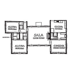 House blueprint with spanish titles stucco walls vector