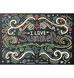 I love summer hand drawn vintage print vector