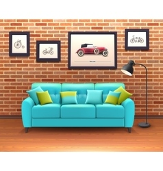 Interior With Sofa Realistic vector image vector image