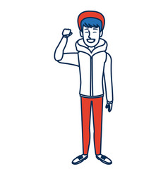 Man with clothes snow hat standing character vector
