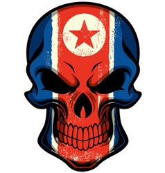 North Korea flag painted on skull vector image vector image