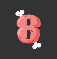 Number 6 meat pork and bone font eight ham vector