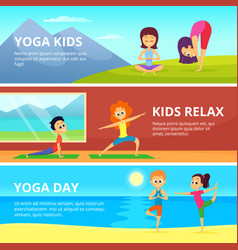 Outdoor pictures of kids making different yoga vector