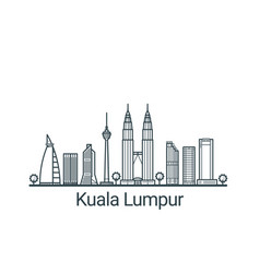 outline kuala lumpur banner vector image vector image