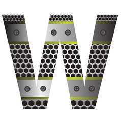 perforated metal letter W vector image vector image