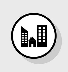 Real estate sign flat black icon in white vector