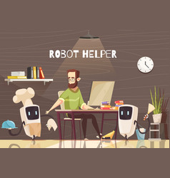 Robotic assistance devices cartoon vector