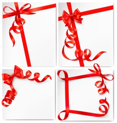 set of holiday backgrounds with red bows and vector image vector image