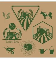 Set of retro farm labels vector