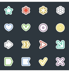 Simple contour style stickers icon set vector