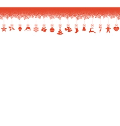 Snowflake border with hanging christmas vector
