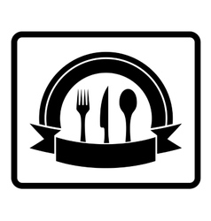 Spoon knife fork on black icon vector