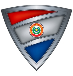 steel shield with flag paraguay vector image