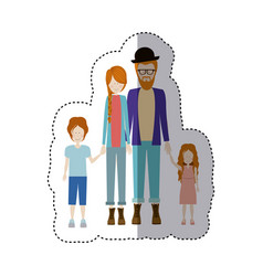 Sticker color silhouette family with redhead and vector