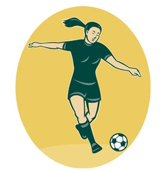 woman girl playing soccer kicking vector image