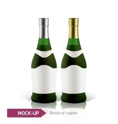 Green bottles of cognac vector