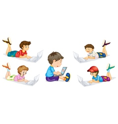 kids and laptop vector image
