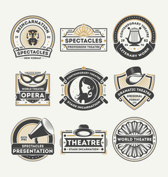 Dramatic theatre vintage isolated label set vector