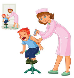 nurse doing an inoculation to a small boy vector image