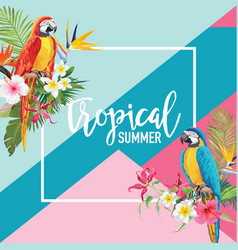 Tropical flowers and parrot birds summer banner vector