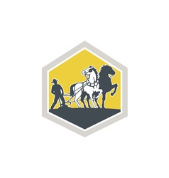 Farmer and horses plowing field crest retro vector