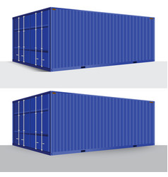 3d perspective blue cargo container shipping vector image