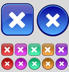 Cancel multiplication icon sign a set of twelve vector