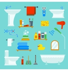 Bathroom and toilet flat style icons vector