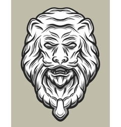 Llion head door knocker line art style vector