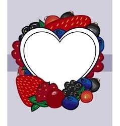 Drawn berries label heart vector