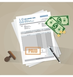 Paper invoice form paid stamp pen cash money vector