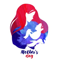 Acrylic watercolor beautiful mother silhouette vector image vector image
