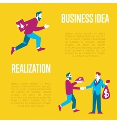 Business idea banner Exchange idea to money vector image
