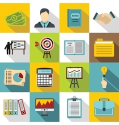 Business plan icons set flat style vector image